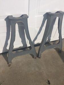 Two Delta Milwaukee Rockwell Cast Iron Lathe Legs Steampunk Ddl 187 Cat 945
