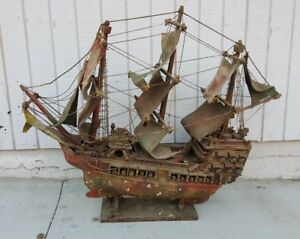 Antique Hand Made Model Ship British Wooden Pirate Ship With Cloth Sails 35