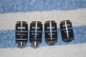 Zeiss Microscope Eyepiece Cp achromat Infinity 5 10 40 And 100x Oil In Super