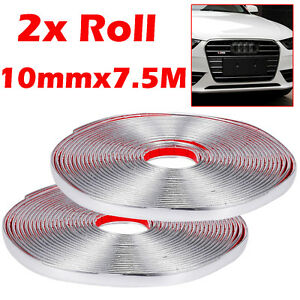 2 Roll 10mmx7 5m Chrome Car Molding Trim Strip Bumper Grille Door Edge Guard