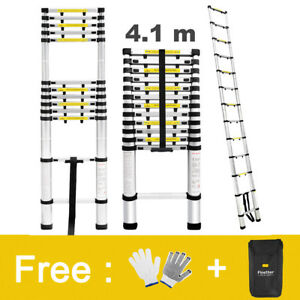 13 45ft 331lbs Aluminum Telescopic Telescoping Loft Extension Ladder Anti slip