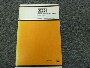 J I Case 188 336 Bdt 504 Bd Bdt Diesel Engine Owner Operator Manual S406190m3