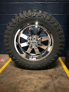 20 20x10 Moto Metal Mo962 Chrome Wheels 35 Mud Tires 8x6 5 Chevy Gmc Dodge Ram