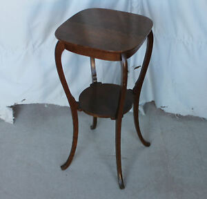 Antique Oak Lamp Table Stand Original Finish Pedestal Stand Smooth Lines