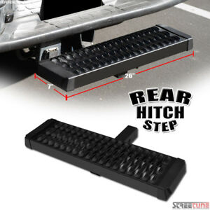 Matte Blk Steel Rear Hitch Step Nerf Bar Guard For 2 Trailer Tailgate Receiver