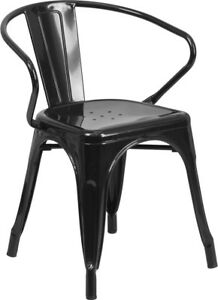 Lot Of 24 Black Metal Indoor outdoor Chair With Arms