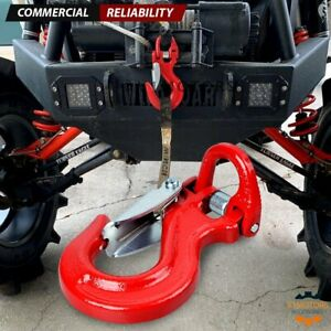Forged Steel Half Link Clevis Safety Latch Swivel Red Winch Hook Jeep Off Road