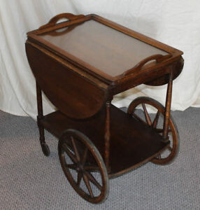 Antique Oak Tea Cart With Removable Serving Tray Original Finish