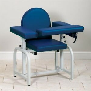 Clinton Industries Blood Drawing Chair Blue 6010 f With Padded Flip Arms