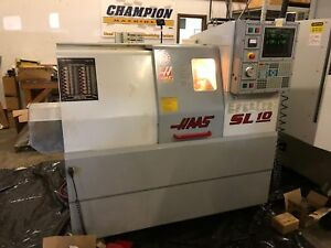 Used Haas Sl 10t Cnc Lathe 2001 Tailstock 6000 Rpm Collet Chuck Medical Plant