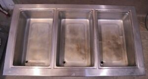 Delfield 8745 Restaurant Stainless Steel 3 Section Drop in Hot Well Sink