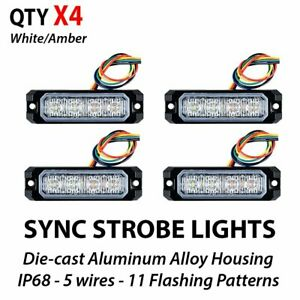 4pcs White Amber Surface Mount 20w 4 Led Emergency Warning Sync Strobe Lights