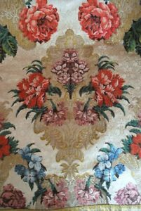 18thc French Or Continental Silk Brocade Lampas Extravagant Floral