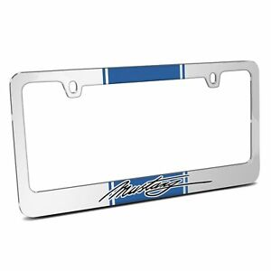 Blue Racing Stripe Chrome Metal License Plate Frame Ford Mustang Script