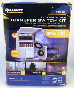 New Reliance Back up Power Transfer Pre wired 6 circuit Switch Kit 306lrk