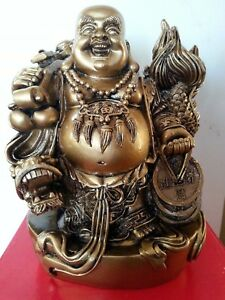 7 H Chinese Lucky Happy Buddha Wealth Stand With Dragon Statue