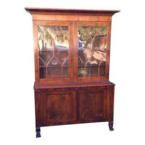 Antique Early 19th Century English Regency Flame Mahogany Library Bookcase