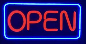 New Ultra Bright Horizontal Led Open Sign Red Blue Restaurant Business Store