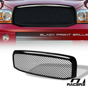 For 2006 2009 Dodge Ram Glossy Black Sport Mesh Front Bumper Grill Grille Guard