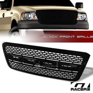 For 2004 2008 Ford F150 Glossy Blk Raptor Square Mesh Front Bumper Grill Grille