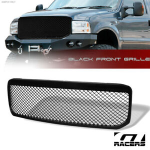 For 1999 2004 Ford F250 f350 f450 Glossy Blk Mesh Front Bumper Grill Grille Abs