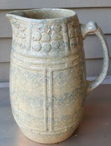 Antique Large Spongeware Milk Pitcher