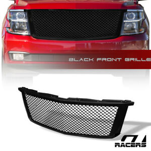 For 2015 2018 Chevy Tahoe Suburban Glossy Black Mesh Front Bumper Grill Grille