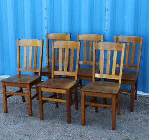 Antique Mission Oak Matching Chairs Set Of Six Chairs Solid Seats