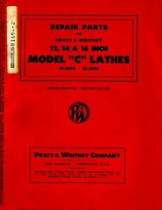 Pratt Whitney Type C Lathe Parts Manual
