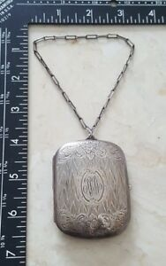 Antique Sterling Silver Floral Compact Mirror Coin Slot Purse Case Freeship