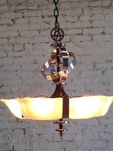 Slip Shade Art Deco 6 Light Fixture Ceiling Chandelier Restored Rewired