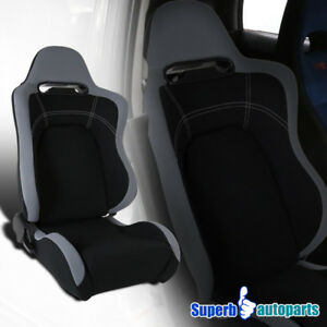 Black Cloth Gray Trim Reclinable Sport Racing Seat W Slider Passenger Right Side