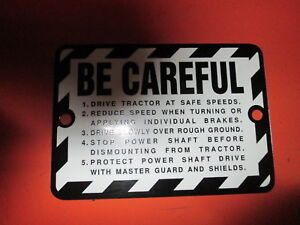 Be Careful Plate For John Deere Tractors From 1948 1958