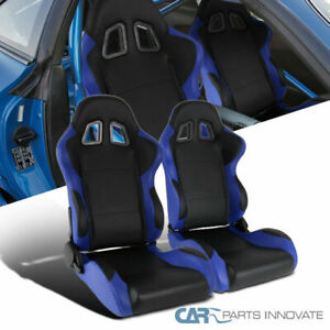 Black Blue Fully Reclinable Pvc Leather Racing Seats W Sliders Driver passenger