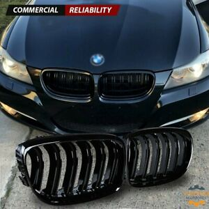 For 08 11 Bmw E90 3 Series E91 Lci 4dr Front Kidney Grille Gloss Black Dual Line