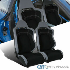 Black Gray Cloth Material Fully Reclinable Sport Racing Seats W Slider Rail 2pc