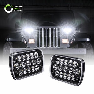 2pc 7 X 6 45w 15 Led Sealed Beam Black Housing Headlight H6052 H6054 H6014