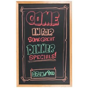 24 X 36 Black Chalk Board Oak Wood Frame Ad Specials Sales Menu Free Shipping