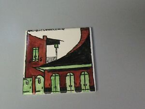 Great Rare Signed Jacques Declercq Painted Ceramic Tile French Quarter Houses
