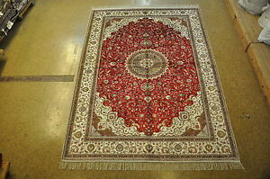 Stylized Palmettes Hand Knotted Rug 6 X 9 Silk Red Ivory Isfahan New