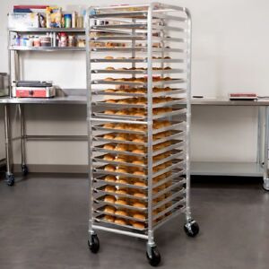 20 Pan End Load Bun Aluminum Commercial Bakery Sheet Pan Rack On Wheels Silver