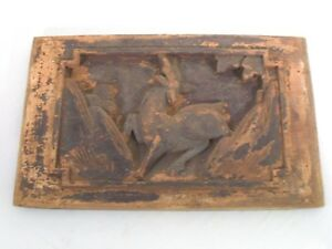 Antique Chinese Carved Wood Bed Panel 10 5 Long Prancing Deer Goat In Relief