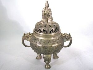 Chinese Silver Incense Burner Censer Kwan Yin Buddha Bats Writing Characters