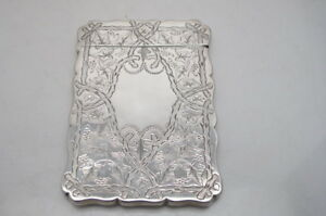 Antique Victorian Silver Calling Card Case 1887 Robert Thornton