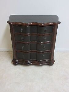 Ethan Allen Chinoiserie Paint Decorated Pressed Tin Bachelors Chest Dresser