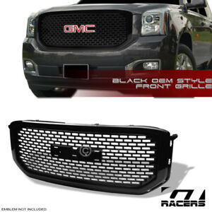 For 2015 2018 Gmc Yukon Denali Glossy Blk Oe Square Mesh Front Bumper Grille Abs