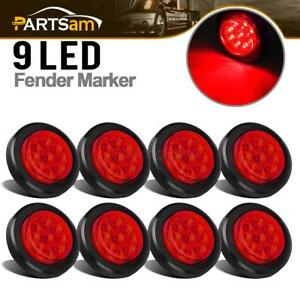 8x Led 2 Round Side Marker Light Trailer Clearance Lamps Waterproof Red 9led