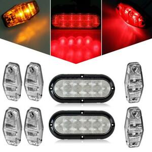 Trailer Light Kit 2 Stop Turn Tail Utility Marker 4amber 2red Clear Lens
