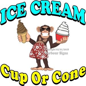 Ice Cream Cup Or Cone Decal choose Your Size Concession Food Truck Sticker