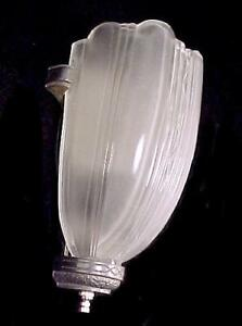 Art Deco Modernist Slip Shade Wall Sconce Light Fixture 1920s 1930s Vintage